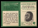 1966 Philadelphia #38  Gale Sayers  Back Thumbnail