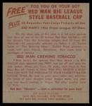 1955 Red Man #11 AL Al Rosen  Back Thumbnail