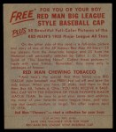 1955 Red Man #22 AL Hank Bauer  Back Thumbnail