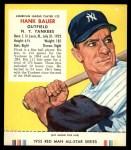 1955 Red Man #22 AL Hank Bauer  Front Thumbnail