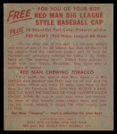 1955 Red Man #22 NL Dusty Rhodes  Back Thumbnail