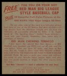 1955 Red Man #15 AL Bobby Avila  Back Thumbnail