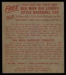 1955 Red Man #13 AL Vic Wertz  Back Thumbnail