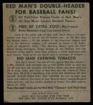 1952 Red Man #1 AL Casey Stengel  Back Thumbnail