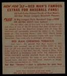 1953 Red Man #14 AL Early Wynn  Back Thumbnail