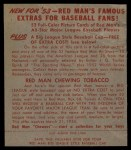 1953 Red Man #18 AL Johnny Mize  Back Thumbnail