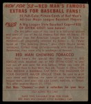 1953 Red Man #24 AL Al Rosen  Back Thumbnail