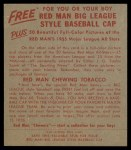1955 Red Man #18 NL Red Schoendienst  Back Thumbnail