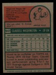 1975 Topps Mini #647  Claudell Washington  Back Thumbnail