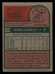 1975 Topps Mini #103  Rick Miller  Back Thumbnail