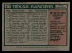 1975 Topps Mini #511   -  Billy Martin Rangers Team Checklist Back Thumbnail