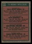1975 Topps Mini #623   -  Keith Hernandez / Phil Garner / Bob Sheldon / Tom Veryzer Rookie Infielders Back Thumbnail