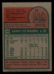 1975 Topps Mini #240  Garry Maddox  Back Thumbnail