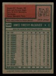1975 Topps Mini #586  Tim McCarver  Back Thumbnail
