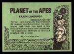 1969 Topps Planet of the Apes #1   Crash Landing Back Thumbnail