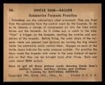 1941 Gum Inc Uncle Sam #58   Submarine Torpedo Practice Back Thumbnail