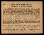 1941 Gum Inc Uncle Sam #97   The Office Of Civilian Defense Back Thumbnail