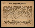 1941 Gum Inc Uncle Sam #99   Auxiliary Police Back Thumbnail