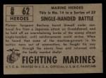 1953 Topps Fighting Marines #62   Single-Handed Battle Back Thumbnail