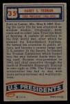 1956 Topps U.S. Presidents #35  Harry S. Truman  Back Thumbnail