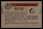 1953 Bowman Firefighters #10   Modern General Service Truck - Ward LaFrance Back Thumbnail