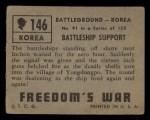 1950 Topps Freedoms War #146   Battleship Support Back Thumbnail