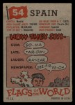 1956 Topps Flags of the World #54   Spain Back Thumbnail