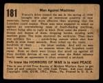 1938 Gum Inc. Horrors of War #181   Men Against Machines Back Thumbnail