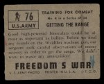1950 Topps Freedoms War #76   Getting the Range   Back Thumbnail