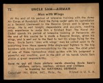 1941 Gum Inc Uncle Sam #72   Men With Wings Back Thumbnail