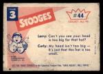 1959 Fleer Three Stooges #44   No Use. tcap Cap Won't Fit  Back Thumbnail