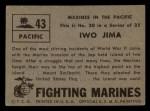 1953 Topps Fighting Marines #43   Iwo Jima Back Thumbnail
