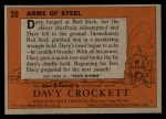 1956 Topps Davy Crockett #30   -    Arms of Steel  Back Thumbnail