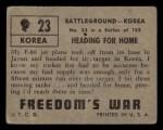 1950 Topps Freedoms War #23   Heading for Home   Back Thumbnail
