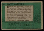 1956 Topps Davy Crockett Green Back #24   Happy Vacation  Back Thumbnail