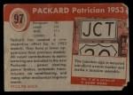 1954 Topps World on Wheels #97   Packard Patrician 1953 Back Thumbnail