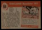 1954 Topps World on Wheels #68   Oakland Roadster 1911 Back Thumbnail