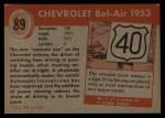 1954 Topps World on Wheels #89   Chevrolet Bel-Air 1953 Back Thumbnail