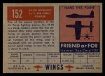 1952 Topps Wings #152   XF 90 Lockheed Back Thumbnail