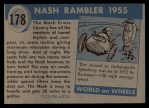 1954 Topps World on Wheels #178 BLU  Nash Rambler 1955 Back Thumbnail