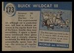 1954 Topps World on Wheels #173 BLU  Buick Wildcat III Back Thumbnail