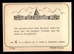 1964 Topps JFK #6   Pres-Elect Kennedy & Daughter Caroline Back Thumbnail