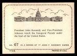 1964 Topps JFK #67   JFK & VP Johnson Under US Seal Back Thumbnail