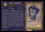 1953 Topps Who-Z-At Star #76  Slim Pickens  Back Thumbnail