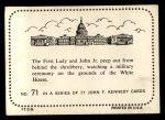 1964 Topps JFK #71   Jackie & John Jr. Watch Military Cer. Back Thumbnail