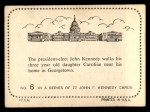 1964 Topps JFK #6   Pres-Elect Kennedy & Daughter Caroline Back Thumbnail