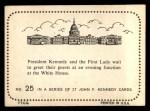 1964 Topps JFK #25   JFK & Jackie At The White House Back Thumbnail