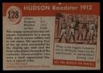 1954 Topps World on Wheels #128   Hudson Roadster 1912 Back Thumbnail