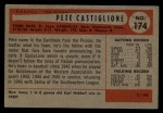 1954 Bowman #174 B Pete Castiglione  Back Thumbnail