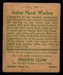 1933 Goudey Indian Gum #194   Indian Naval Warfare  Back Thumbnail